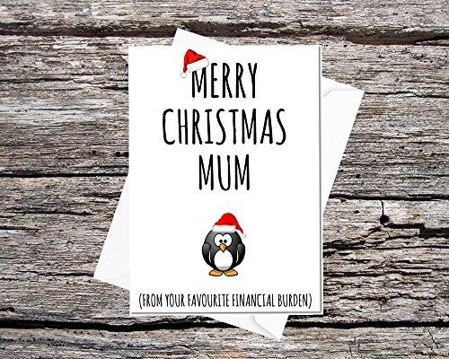 Funny AF tarjetas martillo de lujo A5Tarjeta feliz Navidad mamá de tu carga financiera