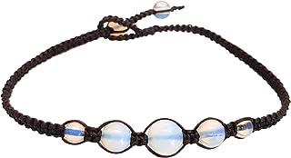 Infinity Opal Moonstone Anklet Bracelet Macrame Braided Woven Wax Cord Adjustable Anklet for Men, Women, teengirls -NYAKOP1