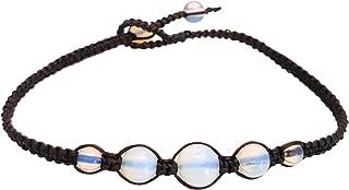 Infinityee888 Opal Moonstone Anklet Bracelet Macrame Braided Woven Wax Cord Adjustable Anklet for Men, Women, teengirls -NYAKOP1