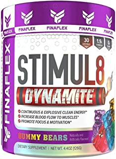 Stimul8 DYNAMITE, Explosive Preworkout for Men and Women, Continuous Clean Energy for Hours, Increase Performance, Strength, Pumps, 30 Servings (Gummy Bears)