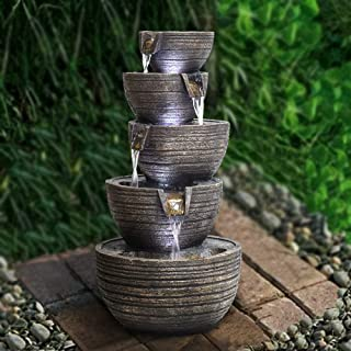 """PeterIvan Garden Fountain Outdoor - 22 4/5"""" H Patio Fountains and Waterfalls Cascading Natural Water Sound&Cool LED Lights Floor Fountain Designed with 5 Bowls for Garden, Yard, Patio, Stairway"""