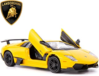 TGRCM-CZ 1/36 Scale Murcielago LP670-4 Casting Car Model, Zinc Alloy Toy Car for Kids, Pull Back Vehicles Toy Car for Toddlers Kids Boys Girls Gift (Yellow)