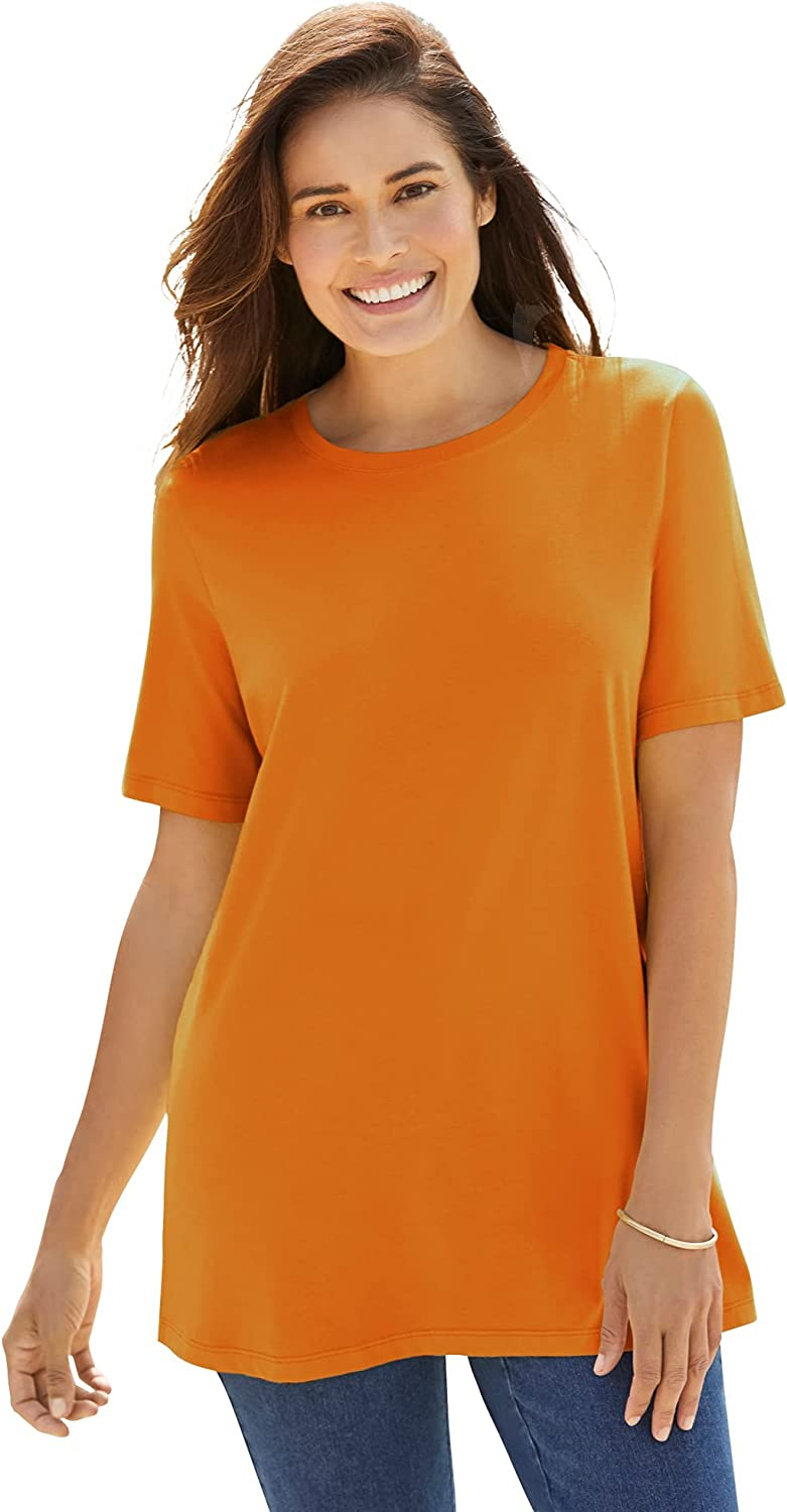 Woman Within Women's Plus Size Perfect Short-Sleeve Crewneck Tee Shirt