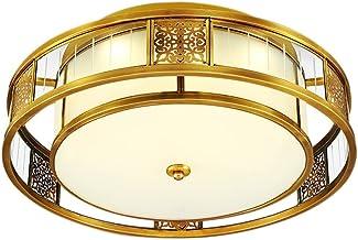 E27X4 all bronze Ceiling lights Bedroom lights European style Round Copper lamp Lighting LED (85 * 20cm) ( Size : 55*20cm )
