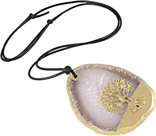 Nupuyai Irregular Agate Stone Necklace for Women, Gold Plated Tree of Life Pendant for Men, Healing Crystal Handmade Jewel...