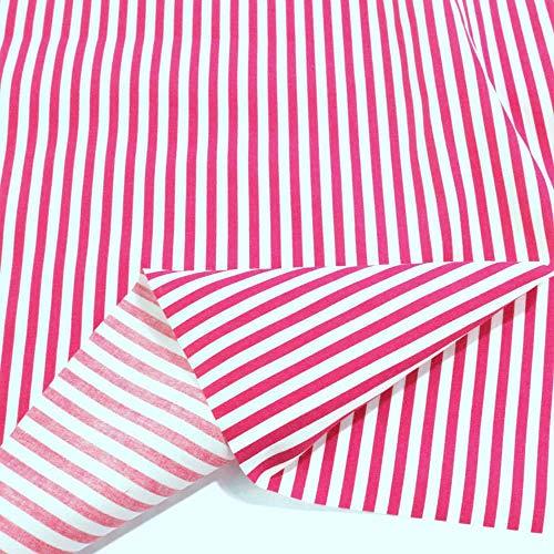 TOLKO Baumwollstoff aus Oeko-Tex Baumwolle   Bunt kräftige Farben   weiche Baumwoll-Popeline zum Nähen Dekorieren   Kleiderstoff Dekostoff Bezugsstoff Meterware 50cm (Fuchsia Weiß Streifen)