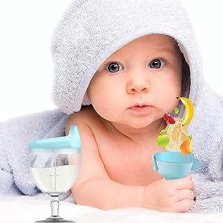 Tasse d'apprentissage pour bébé ultra résistante anti fuite contenance 150ml et grignoteuse fruit de couleur bleu pour sou...