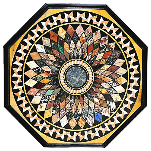 Gifts And Artefacts Marmor-Küchentischplatte, 183 cm, einzigartige Konferenztisch-Edelsteine, eingelegt, fügen Sie Ihrem Zuhause einen königlichen Look hinzu.