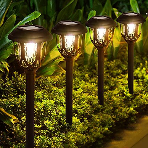 Solar Lights Outdoor Decorative, 10 Pack Solar Pathway...