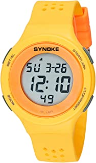 Watch Porous Breathable Fashion Sports Table Student Couple Electronic Watch Shinuoqiu Ultra-Thin LED Swimming Waterproof Digital Watch, Fashion Watch (Color : Yellow)