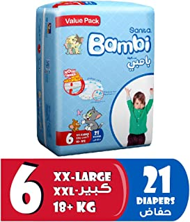 Sanita Bambi Baby Diapers Value Pack Size 6, XX-Large, +KG18, 21 Count