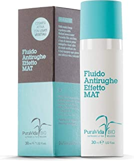 PURAVIDA BIO - Anti-Wrinkle Fluid Mat Effect - Smoothes Wrinkles - Fresh and light texture - Eliminates glossy effect - Ideal on T-Zone - 100% natural perfume - Nickel-tested - Paraben free 30 ml