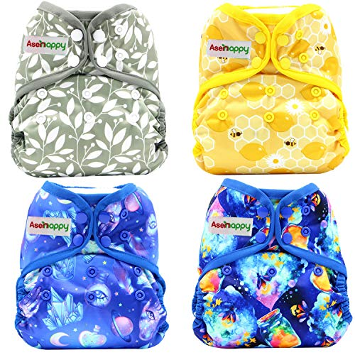 4 PCs Cloth Diaper Adjustable Size Reusable Thin Diaper with Prefold by Asenappy (Multicolor E)