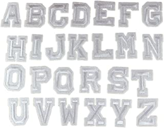 Yalulu 26PCs White Alphabet Letter Embroidered Repair Patches Iron On Cloth Paste DIY Applique Craft Kids Clothing Hat Bag Decor