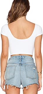 Women's Basic Solid Short Sleeve Crop Tops Sexy Open Back Shirts for Women