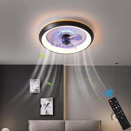 LED Fan Plafonnier Moderne Nordique Dimmable Ventilateur Au Plafond Avec Lampe Ultra-Mince Invisible Lustre De Ventilateur Ultra Silencieux Chambre Salon Fan Lumière Éclairage