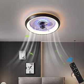 LED Fan Plafonnier Moderne Nordique Dimmable Ventilateur Au Plafond Avec Lampe Ultra-Mince Invisible Lustre De Ventilateur...