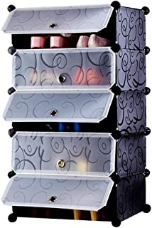 Zizer 5 Layer DIY Plastic Shoe Storage Rack Organizer with Cover for Home Office/Multi-Purpose Cabinet for Toys Clothes Bo...