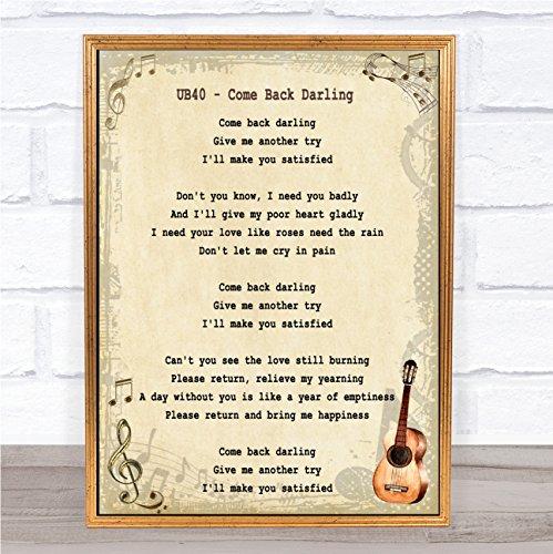 Kom terug Darling Song Lyric Vintage Quote Print Framed Brushed Gold Small