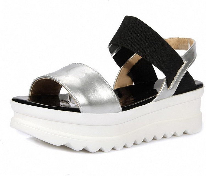 WeenFashion Women's Elastic Kitten Heels PU Two-toned Open Toe Sandals