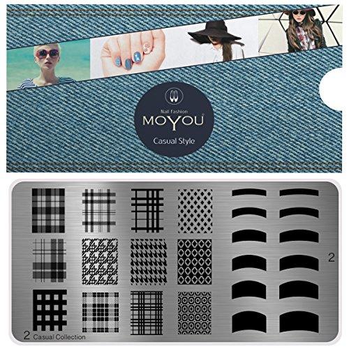 MoYou's XL Casual 2 Stamping Schablone, Nail Art Stampling - Nagel Lack Stempel, Vollnagel und Französisch Maniküre