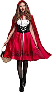 Women's Red Riding Hood Halloween Cosplay Costume Make Up Party Dress