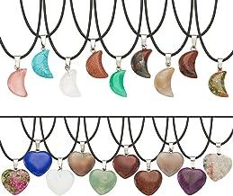 PandaHall 20st Heart & Moon Edelsteen Hangers Crystal Healing Chakra Edelsteen Charms met 20st Waxkoord Ketting en 1st Opb...