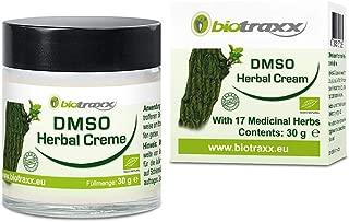 Biotraxx herbal DMSO crema con 17 hierbas curativas naturales | Producto de la más alta calidad | Aroma Natural Agradable | Recipiente de vidrio 30gr | Hecho en Alemania
