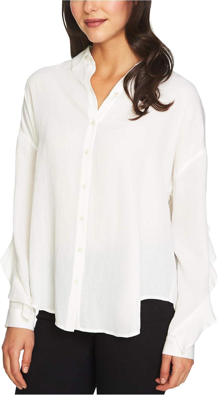 1.State Womens Ruffled Button Up Shirt