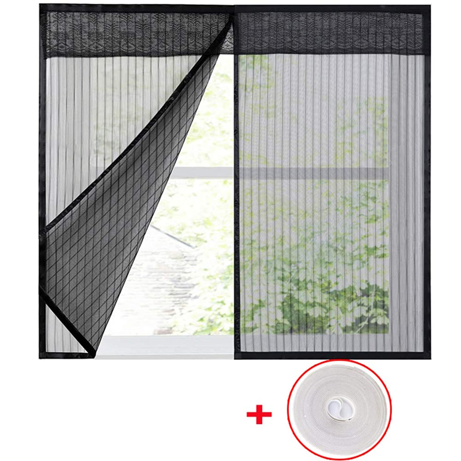 WYMNAME Window screen mesh curtain, Mosquito netting mesh screen protector Window netting mosquito net Fitted to multiple windows-black 100x150cm(39x59inch)
