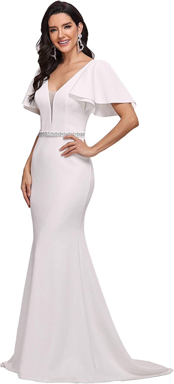 Ever-Pretty Women's Floor-Length V Neck Ruffle Sleeves Bodycon Bridal Dresses for Bride 0173
