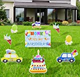 9 Pcs Happy Birthday Yard Signs - Waterproof Birthday Cake, Car, Balloon, Cone, Gift Box Shaped Lawn Garden Signs with Stakes for Boys and Girls Birthday Party Decorations