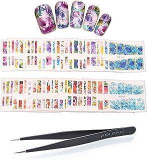 WOKOTO 50 Sheets Big Flower Image Nail Art Stickers Water Transfer Decals With 1 Pcs Anti-Static Tweezers Nail Art Decorat...