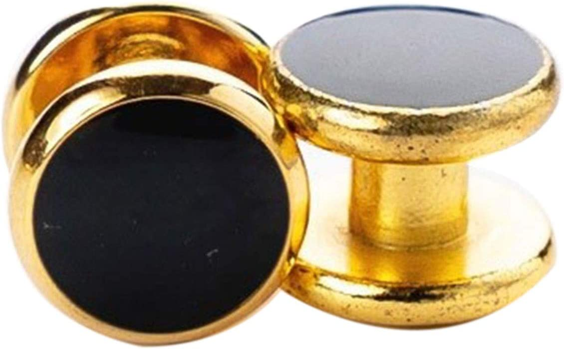 Luxury Gold Tuxedo Cufflinks and Studs Set Black Enamel Round Design Cuff Button Set for Suit French Shirt Business Mens Jewelry (Metal Color : Studs)