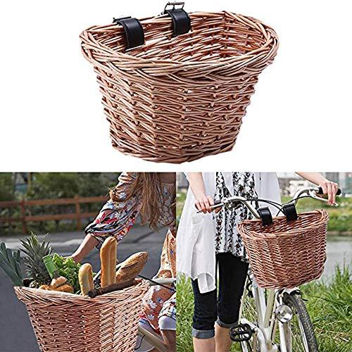 TOPCL Cesta de mimbre para bicicleta, portátil, hecha a mano, cesta frontal de la compra con correa de piel para niñas, mujeres y hombres, tamaño Small