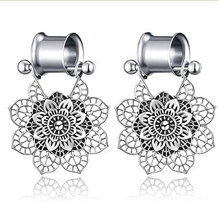 FLYUN Fashion Vintage Boho Mandala Indian Flower Drop Dangle Earrings Multiple Gauge Double Flared Tunnel Plug for Women Girls Trendy Tribal Jewelry Packs