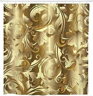 花のダマスク織ヴィンテージゴールド花葉シャワーカーテン防水ポリエステル生地-(51x59inch)(130x150cm)