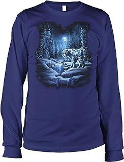 Hoodteez Snow Tiger, White Tiger Men`s Long Sleeve Shirt