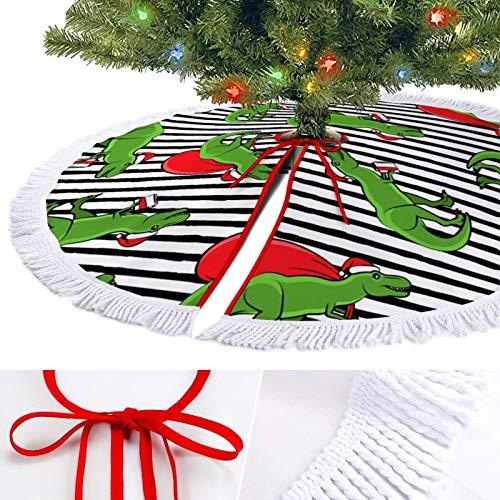 KAZOGU Soft Christmas Tree Skirt Base Cover Holiday Decorations Christmas Dinosaur Pattern Tassel Trim Xmas Tree Floor Mat for Home