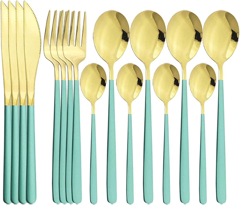Juegos de cubiertos Occidental 16pcs conjunto de cubiertos de oro blanco 304 Juego de vajillas de acero inoxidable Conjunto de cuchillo Cuchara de cuchara Set de flotware Home Cocina Vajilla Conjunto