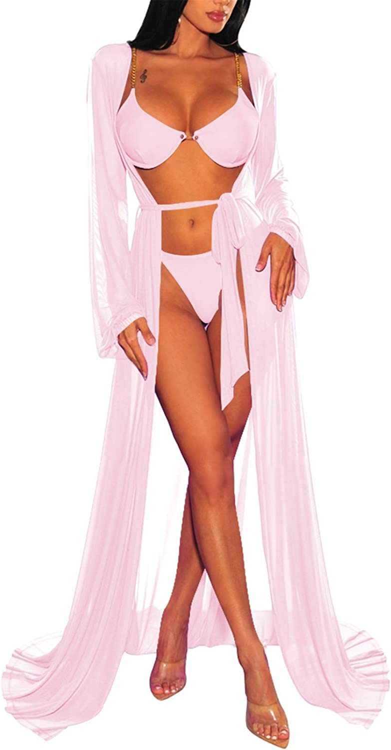TOLENY Women's Swimsuit Cover Ups Loose Bathing Suit Tie Front Robe Sexy Beach Maxi Dress