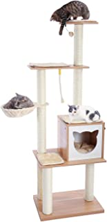 PAWZ Road 166.5cm Multi-Level Modern Cat Tree Sisal-Covered Scratching Post Luxury Cat Towers Furniture Large Condo, Soft ...