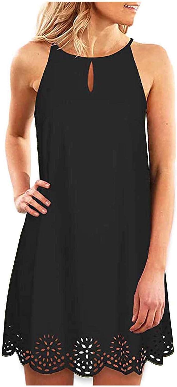 iQKA Women's Cami Dress Solid Color Keyhole Summer Casual Dress Halter Neck Sleeveless Beach Short Mini Dress Vestidos