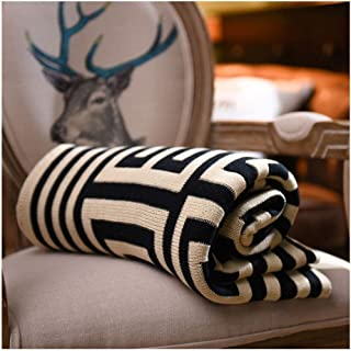 GuoCu Manta con patrón Jacquard geométrica,Tiro de Punto Cobertura para sofá y Cama Negro 150 * 200cm