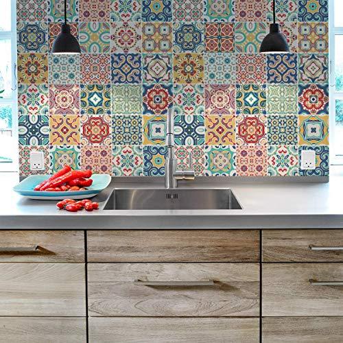 Ambiance, Piastrelle adesive - Adesivo piastrelle di cemento - Decorazione da parete adesivi per bagno e cucina - piastrelle di cemento adesivo da parete - 15 x 15 cm - 30 pezzi