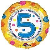 Anagram - Globo redondo con número de cumpleaños (5/Amarillo)