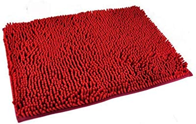 akezone Generic Washable Bathroom New Shaggy Rugs Non Slip Bath Mat Thick Shag Pile 7 Colours (red)