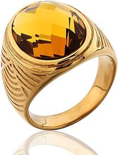 MASOP خواتم الفولاذ المقاوم للصدأ لون ذهبي للرجال كوكتيل بني فاتح توباز لون Yellor Stone Ring Size 11