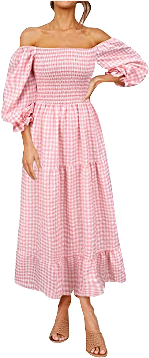 VEKDONE Long Sleeve Dress for Women Casual Plaid Print Off Shoulder Trumpet Sleeve Swing Dress Ruffle Party Long Dresses