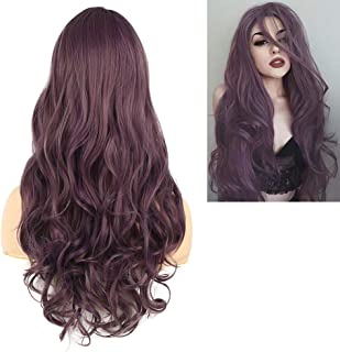 Baruisi Long Curly Wavy Mixed Brown Purple Wig for Women Synthetic Natural Looking Cosplay Hair Wig
